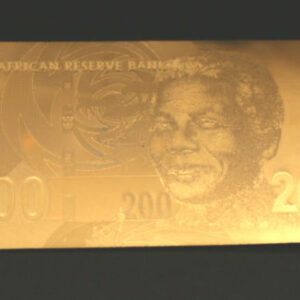 Mandela R200 Gold plated note 300x300 - South Africa Two Hundred Rand 24K Gold PF UNC Nelson Mandela Banknote