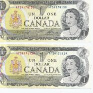 1973x2 AFS 185x185 - Two 1973 $1 UNC Notes - Consecutive Serial #'s