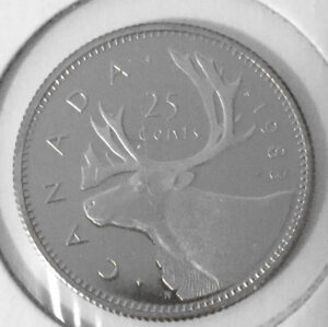 1983R 2 300x299 - 1983 Canada 25-cent Proof with Frosted Finish