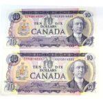 2x71 10 150x150 - 1971 $10 Crow-Bouey EER Prefix BC-49d - 2 Consecutive UNC Notes
