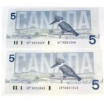 2x86 5 Bonin Thiessen 150x150 - 1986 $5 Consecutive Serial Numbers x 2 UNC Bonin-Thiessen Notes