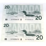 2x91 20 Bonin Thiessen 150x150 - 1991 $20 Bonin-Thiessen BC-58b - 2 x Consecutive UNC Notes
