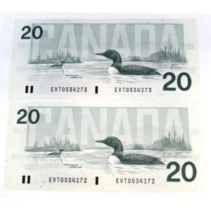 2x91 20 Bonin Thiessen 300x300 - 1991 $20 Consecutive Serial Numbers x 2 UNC Bonin-Thiessen Notes