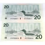 2x91 20 Knight Dodge 150x150 - 1991 $20 Knight-Dodge BC-58d - 2 x Consecutive UNC Notes