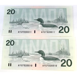 2x91 20 Knight Dodge 300x300 - 1991 $20 Consecutive Serial Numbers x 2 UNC Knight-Dodge Notes