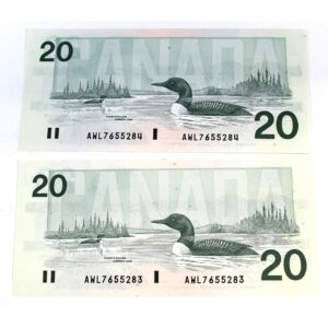 2x91 20 Knight Thiessen 300x300 - 1991 $20 Consecutive Serial Numbers x 2 UNC Knight-Thiessen Notes