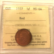 1937 1c MS64 scaled 185x185 - 1937 Canada Penny ICCS Graded MS64 Red