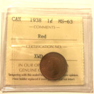 1938 1c MS63 scaled 185x185 - 1938 Canada Penny ICCS Graded MS63 Red