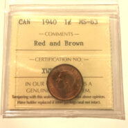 1940 1c MS63RB scaled 185x185 - 1940 Canada 1-Cent Penny ICCS Graded MS63