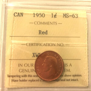 1950 1c MS63 1 300x300 - 1950 Canada Penny ICCS Graded MS63 RED
