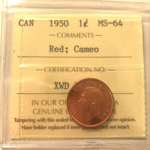 1950 1c MS64 1 300x300 - 1950 Canada Penny ICCS Graded MS64 RED CAMEO