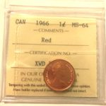 1966 1c MS64 150x150 - 1966  Canadian Penny  ICCS Graded MS64 RED