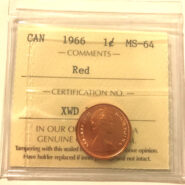 1966 1c MS64 scaled 185x185 - 1966  Canadian Penny  ICCS Graded MS64 RED