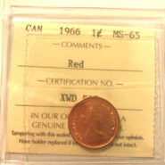 1966 1c MS65 scaled 185x185 - 1966  Canadian  Penny ICCS Graded MS65 RED