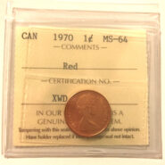 1970 1c MS64 scaled 185x185 - 1970 Canada Penny ICCS Graded MS64 RED
