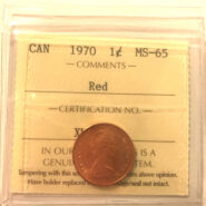 1970 1c MS65 scaled 185x185 - 1970 Canada Penny ICCS Graded MS65 RED