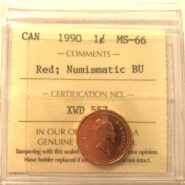 1990 1c MS66 NBU scaled 185x185 - 1990 Canada 1-Cent ICCS NBU MS66 RED