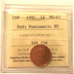 1991 1c MS67 NBU 300x300 - 1991 Canada 1-Cent ICCS NBU MS67 RED