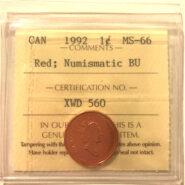 1992 1c MS66 NBU scaled 185x185 - 1992 Canada 1-Cent ICCS NBU MS66 RED