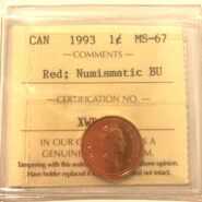 1993 1c MS67 NBU scaled 185x185 - 1993 Canada 1-Cent ICCS Graded MS67 RED