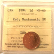 1994 1c MS66 NBU scaled 185x185 - 1994 Canada 1-Cent ICCS MS66 RED