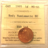 1995 1c MS66 NBU scaled 185x185 - 1995 Canada 1-Cent ICCS MS66 RED