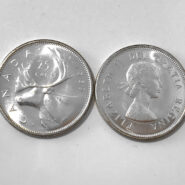 1959 25c UNC 185x185 - 1959 Canada 25-cent Ch-UNC 0.800 Silver Quarter from Mint Roll