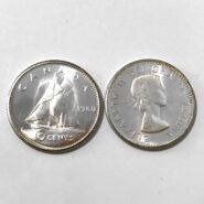 1960 10c UNC 185x185 - 1960 Canada 10-cent Ch-UNC 0.800 Silver Dime