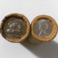 """65R5c 185x185 - 1965 Canada """"OBW"""" Nickel 5-cent Roll"""