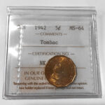 1942 5cTombac MS64 150x150 - 1942 Canada 5-cent Nickel ICCS Tombac MS-64