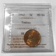 1942 5cTombac MS64 185x185 - 1942 Canada 5-cent Nickel ICCS Tombac MS-64