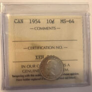 1954 MS64 185x185 - 1954 Canada 10-cent ICCS MS64