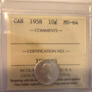 1958 MS64 185x185 - 1958 Canada 10-cent ICCS MS64