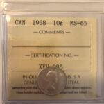 1958 MS65 150x150 - 1958 Canada 10-cent ICCS MS65