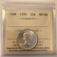 1959 MS64 185x185 - 1959 Canada 25-cent ICCS MS64