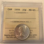 1959 MS65 150x150 - 1959 Canada 25-cent ICCS MS65 MV $150