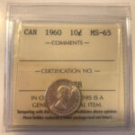 1960 MS65 150x150 - 1960 Canada 10-cent ICCS MS65