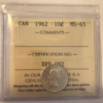 1962 MS65 150x150 - 1962 Canada 10-cent ICCS MS65