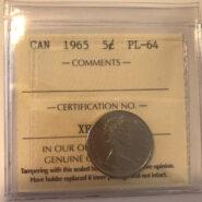 1965 PL64 185x185 - 1965 Canada 5-cent ICCS PL64