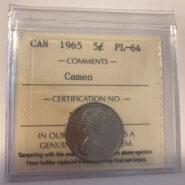 1965 PL64C 185x185 - 1965 Canada 5-cent ICCS PL64 Cameo