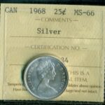 1968 25c MS66 O 150x150 - 1968 Canada 25-cent Silver Coin ICCS MS66
