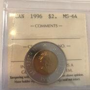 1996 2 MS64 185x185 - 1996 Canada $2 ICCS MS64 MV$50