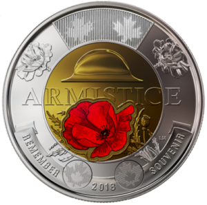 2018 2 Colour Armistice 300x298 - 2018 Armistice UNC $2 Color Coin