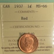 1937 1cMS66 185x185 - 1937 Canada 1-Cent Penny ICCS Graded MS66 RED