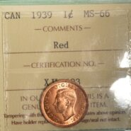 1939 1cMS66 185x185 - 1939 Canada 1-Cent Penny ICCS Graded MS66 RED