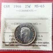 25c1946MS65O 185x185 - 1946 Canada 25-cent ICCS Graded MS-65