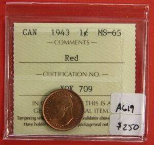1943 1c MS65 O 300x284 - 1943 Canada 1-Cent Penny ICCS Graded MS65 RED
