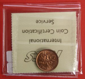 1943 1c MS65 R 300x278 - 1943 Canada 1-Cent Penny ICCS Graded MS65 RED
