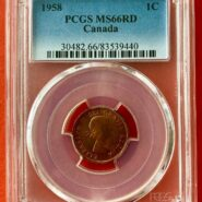 1958 1c MS66 O 185x185 - 1958 Canada 1-Cent Penny PCGS Graded MS66 RED