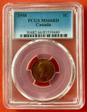 1958 1c MS66 O 300x385 - 1958 Canada 1-Cent Penny PCGS Graded MS66 RED